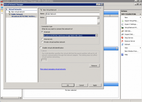 ms windows 2008 hyper-v external virtual network configuration