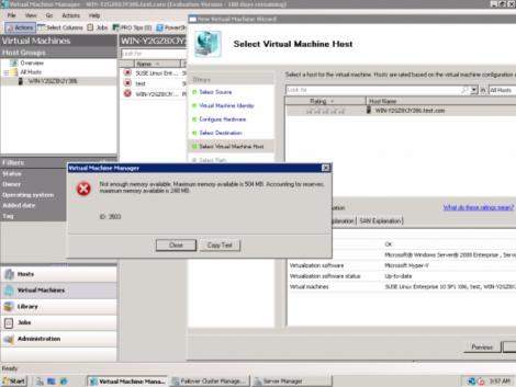 ms windows 2008 hyper-v no memory over comitment