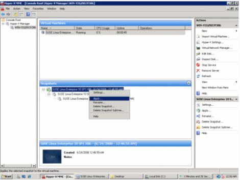ms windows 2008 hyper-v restore snapshot