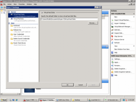 ms windows 2008 hyper-v server setting default