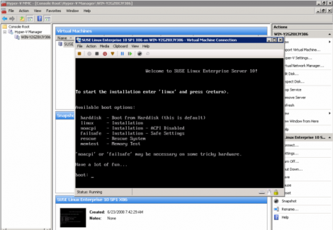 ms windows 2008 hyper-v suse linux enterprise 10 sp1 x86 installation