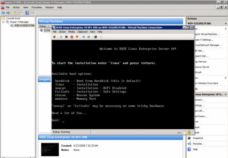 ms windows 2008 hyper-v suse linux enterprise 10 sp1 x86 installation
