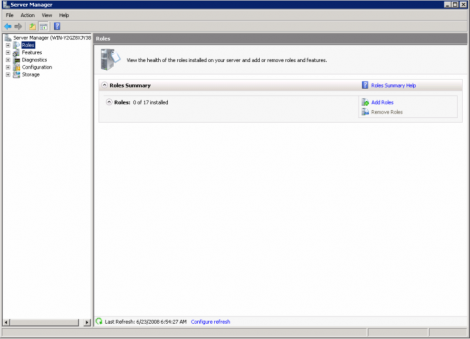windows 2008 choosing roles from left panel
