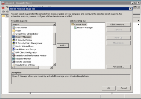 windows 2008 hyper-v adding hyper-v manager to mmc