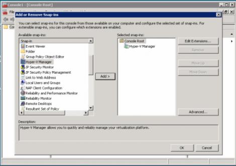 windows 2008 hyper-v adding hyper-v manager to mmc