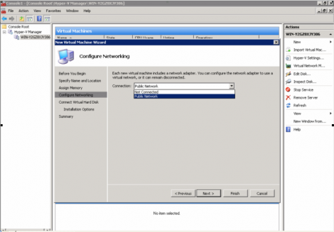 windows 2008 hyper-v manager choose virtual network to connect