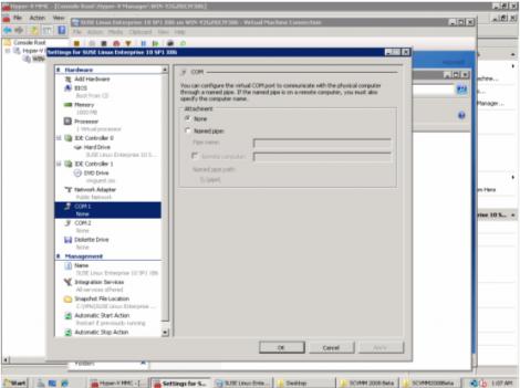 windows 2008 hyper-v manager com port configuration
