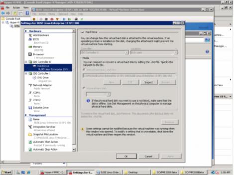 windows 2008 hyper-v manager ide hard drive setting