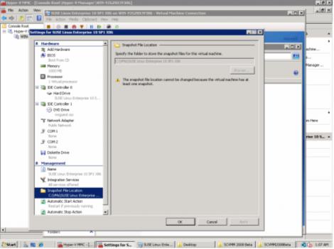 windows 2008 hyper-v manager virtual machine snapshots location