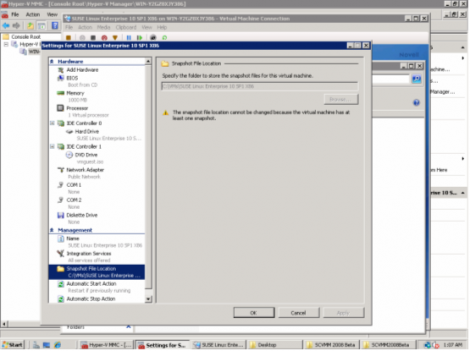 windows 2008 hyper-v manager virtual machine snapshots location