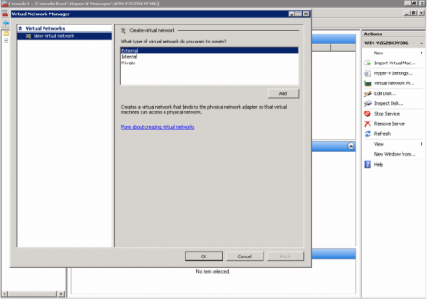 windows 2008 hyper-v manager virtual network type