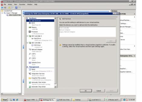 windows 2008 hyper-v manager vm setting panel