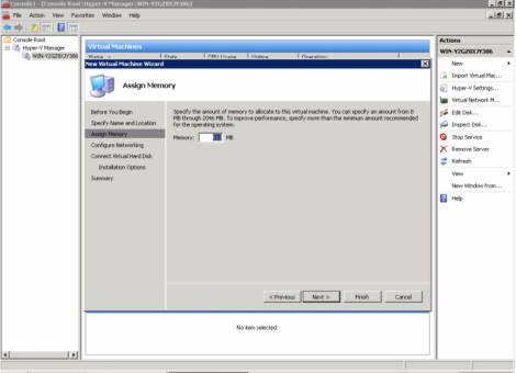 windows 2008 hyper-v virtual machine memory configuration