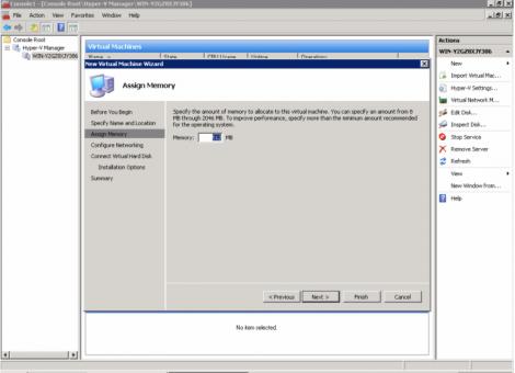 windows 2008 hyper-v virtual machine memory configuration