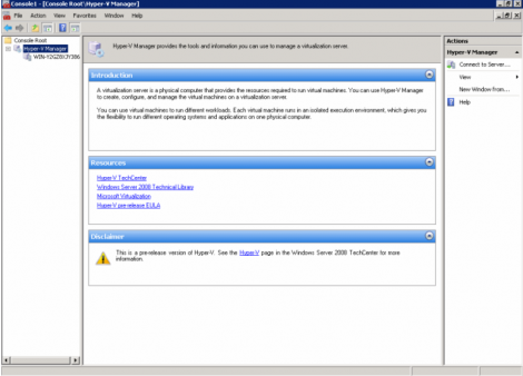 windows 2008 server Hyper-V manager as soon it open up in mmc