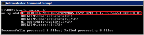 dacl of the vhd file of a virtual machine declared in hyper-v