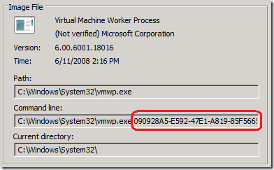 process properties worker process vmwpexe corresponding to the vm