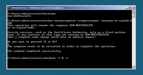 HyperV Server Core change node name