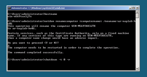 HyperV Server Core change node name