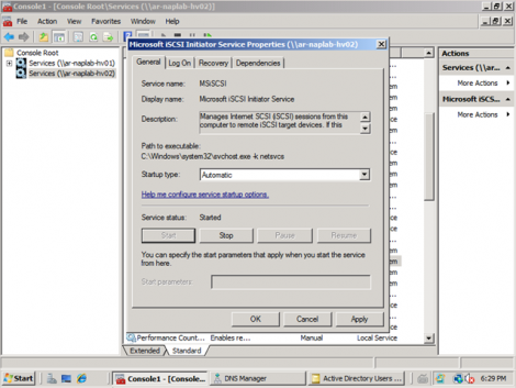 ms windows 2008 server core ensure service is automated and running
