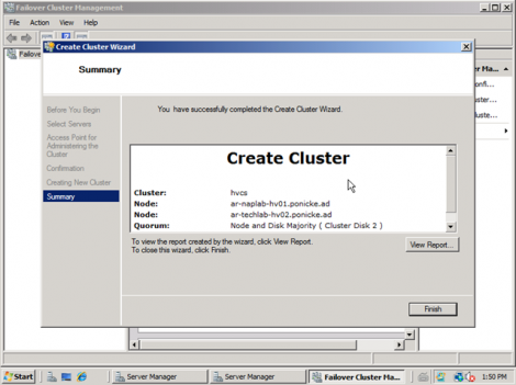 windows 2008 cluster completion summary
