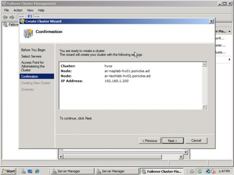 windows 2008 cluster configuraiton confirmation window