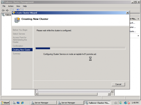 windows 2008 cluster configuration in process