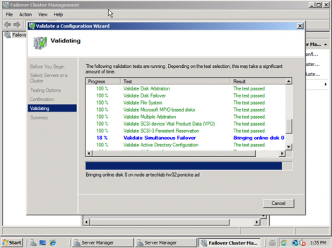 windows 2008 cluster validation bringing disks online