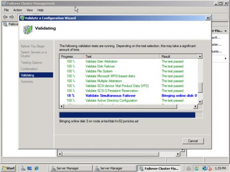 windows 2008 cluster validation bringing disks online