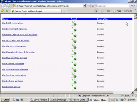 Windows 2008 CLuster Validation Result
