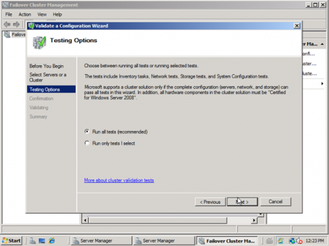 windows 2008 cluster validation run all tests