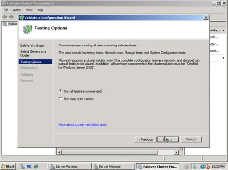 windows 2008 cluster validation run all tests