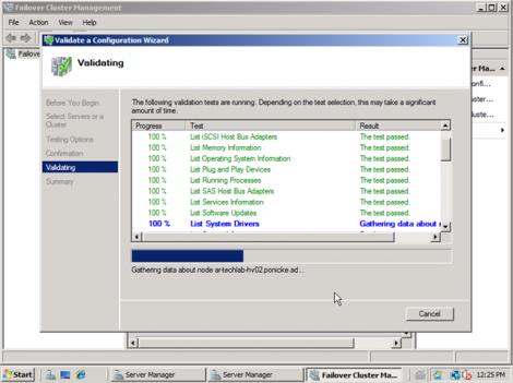 windows 2008 cluster validation start