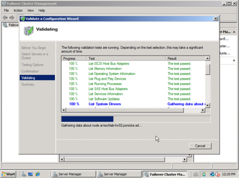 windows 2008 cluster validation start