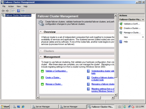 windows 2008 failover cluster management