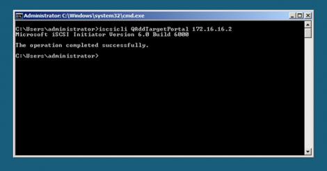 windows 2008 server core adding iscsi target