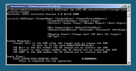 Windows 2008 server core adding iscsi target IQN