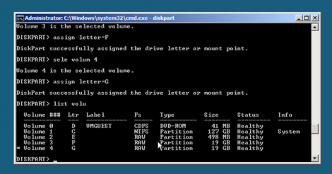 windows 2008 server core assign partition letters repeat for the rest