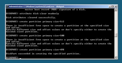 Windows 2008 Server Core create primary partitions