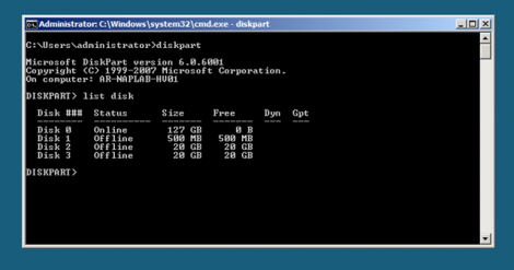 windows 2008 server core diskpart and listdisk