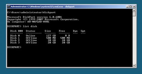 windows 2008 server core diskpart and listdisk