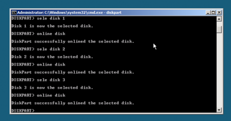 windows 2008 server core diskpart and listdisk for the rest