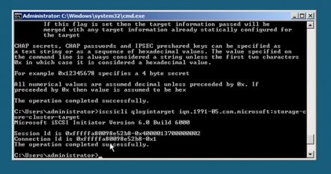 windows 2008 server core iscsi qlogintarget iqn