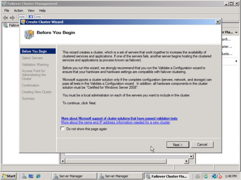 windows 2008 start cluster wizard