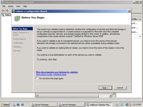 windows 2008 validate cluster configuration