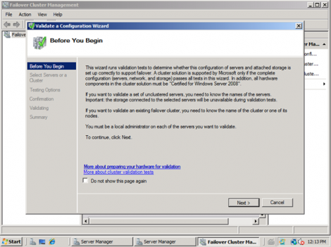 windows 2008 validate cluster configuration