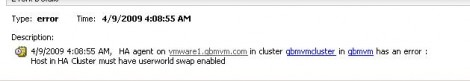 VMware ESXi HA Error