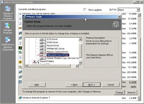 VMware tools filesystem sync driver