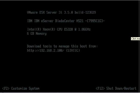 VMWare ESXi default screen