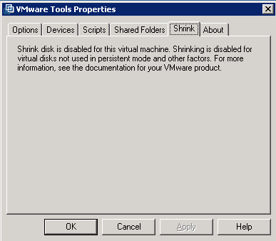 Note VMware tool Shrink functionality does not work for Thin provisioned disks